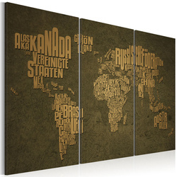 Tablou - The map of the World, German language:Beige continents - triptych
