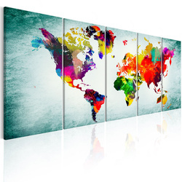 Tablou - World Map: Green Vignette