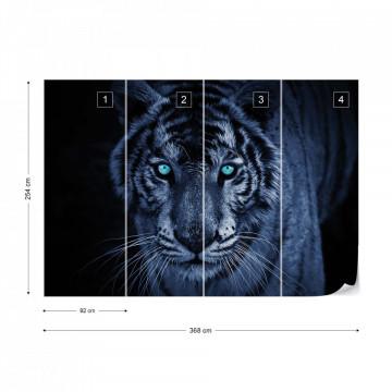 Tiger Blue Photo Wallpaper Wall Mural