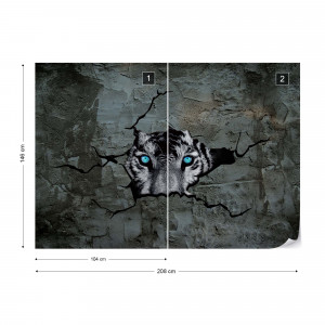 Tiger Hole In Concrete Wall 3D Photo Wallpaper Wall Mural