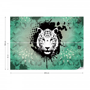Tiger Pyschedelic Design Green Photo Wallpaper Wall Mural