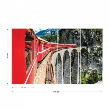 Train Passing Through Mountains Photo Wallpaper Wall Mural