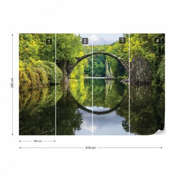 Tranquil Lake Bridge Water Reflection Photo Wallpaper Wall Mural