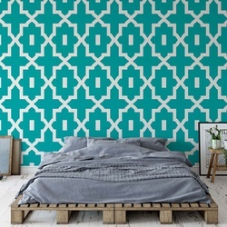 Turquoise Geometric Pattern Photo Wallpaper Wall Mural