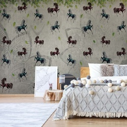 Vintage Horses Pattern Photo Wallpaper Wall Mural