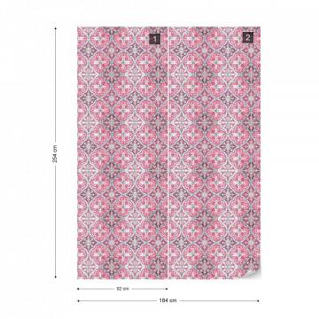 Vintage Tiles Pattern Pink Photo Wallpaper Wall Mural