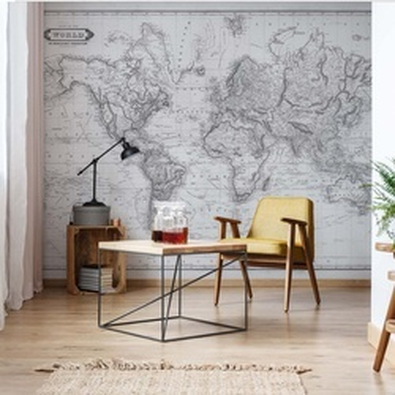 Vintage World Map Monochrome
