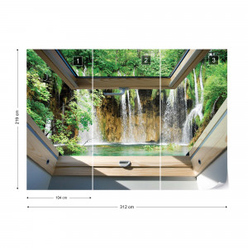 Waterfall 3D Skylight Window View Photo Wallpaper Wall Mural
