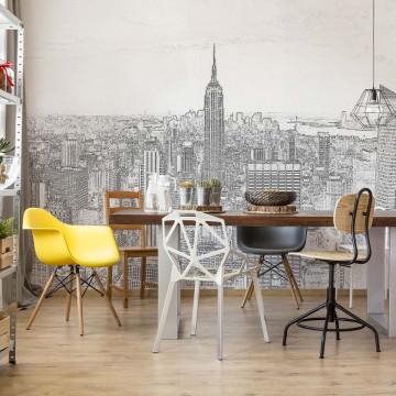 White And Grey Modern New York Skyline Photo Wallpaper Wall Mural