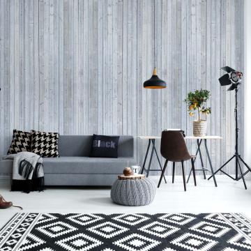 Wood Planks Light Grey Photo Wallpaper Wall Mural