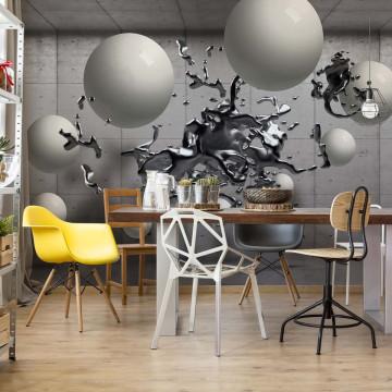 3D Abstract Design Molten Metal Balls Photo Wallpaper Wall Mural
