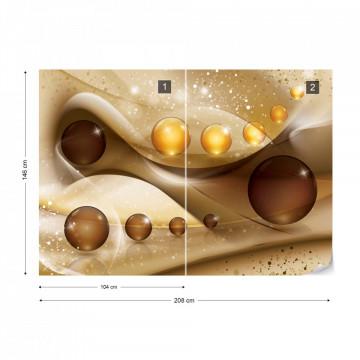 3D Balls Gold Photo Wallpaper Wall Mural