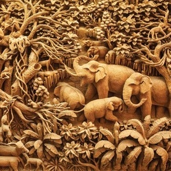 3D Carved Wood Jungle Elephants Sepia Photo Wallpaper Wall Mural
