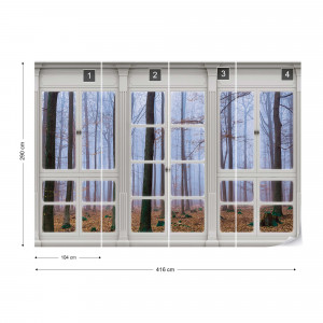 3D Door View Misty Forest Photo Wallpaper Wall Mural