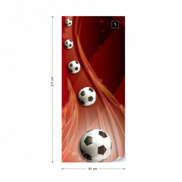 3D Footballs Red Background Photo Wallpaper Wall Mural