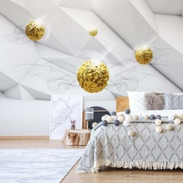 3D Gold Balls Modern Design Photo Wallpaper Wall Mural