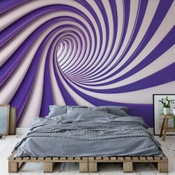 3D Swirl Tunnel Purple And White Photo Wallpaper Wall Mural