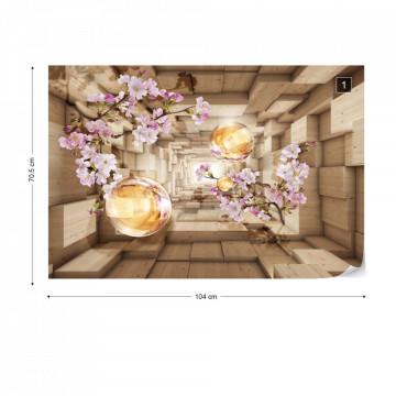 3D Tunnel Cherry Blossom Flowers Modern Design Photo Wallpaper Wall Mural