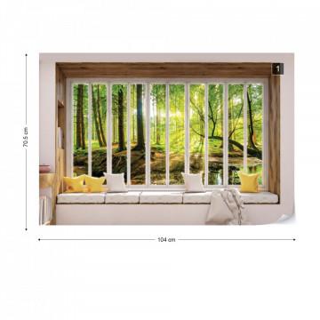 3D Window View Forest Photo Wallpaper Wall Mural