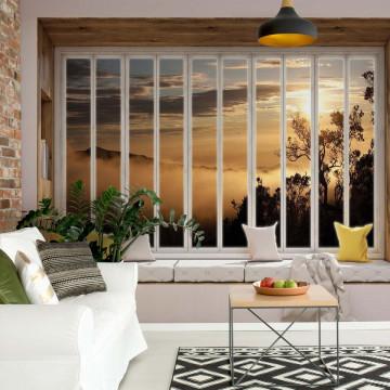 3D Window View Mountains Photo Wallpaper Wall Mural