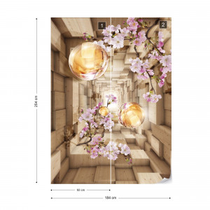 3D Wood And Flowers Tunnel Photo Wallpaper Wall Mural
