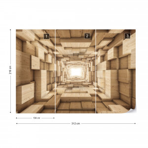 3D Wood Tunnel Optical Illusion Photo Wallpaper Wall Mural
