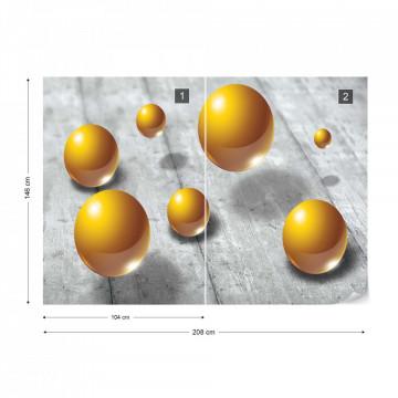 Abstract 3D Design Yellow Balls Photo Wallpaper Wall Mural
