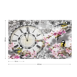 Birds, Clock, And Cherry Blossom Floral Vintage Design Photo Wallpaper Wall Mural