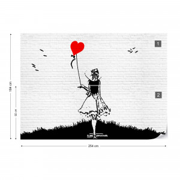 Black And White Brick Wall Graffiti Girl And Heart Balloon Photo Wallpaper Wall Mural