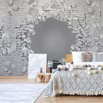 Brick Wall 3D Hole In Wall Illusion Photo Wallpaper Wall Mural