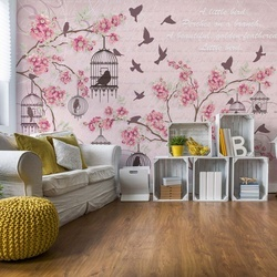 Cherry Blossom And Birds Vintage Design Pink Photo Wallpaper Wall Mural