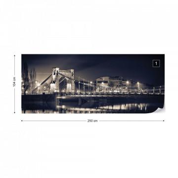 City Bridge At Night Photo Wallpaper Wall Mural