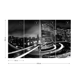 City Skyline At Night Photo Wallpaper Wall Mural