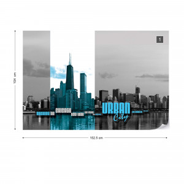 City Skyline Blue Photo Wallpaper Wall Mural