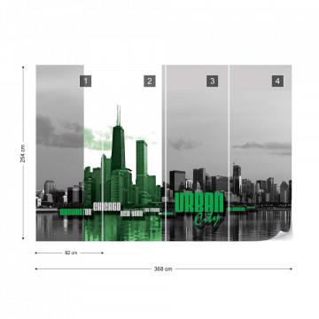 City Skyline Green Photo Wallpaper Wall Mural