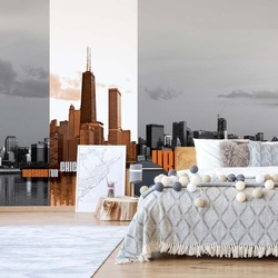 City Skyline Orange Photo Wallpaper Wall Mural