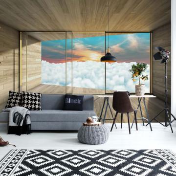 Clouds Sky 3D Modern Window View Photo Wallpaper Wall Mural