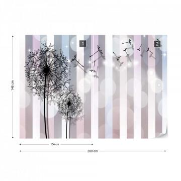 Dandelions Modern Design Stripes Bokeh Photo Wallpaper Wall Mural