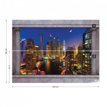 Dubai City Roman Column View Photo Wallpaper Wall Mural