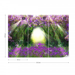 Enchanted Forest Flowers Photo Wallpaper Wall Mural