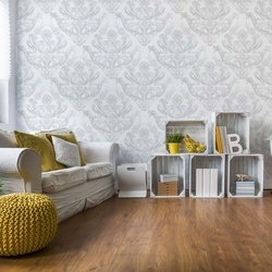 Floral Pattern White And Grey Photo Wallpaper Wall Mural