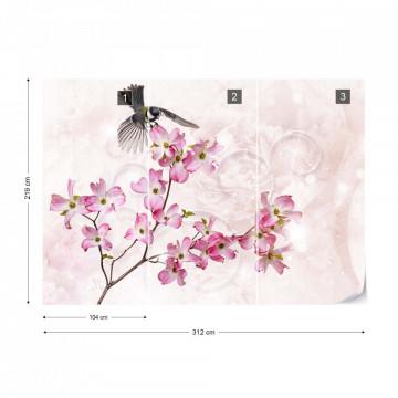 Flowers Bird Vintage Chic Pink Photo Wallpaper Wall Mural