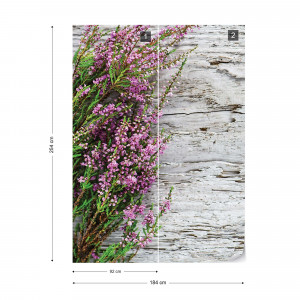 Flowers Heather Rustic Wood Texture Photo Wallpaper Wall Mural