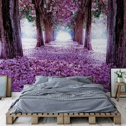 Flowers Trees Path Purple Photo Wallpaper Wall Mural