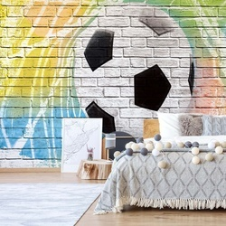 Football Graffiti Brick Wall Photo Wallpaper Wall Mural
