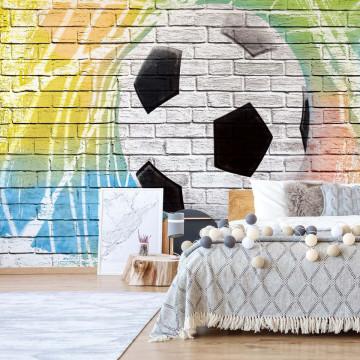 Football Graffiti Brick Wall Photo Wallpaper Wall Mural