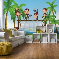 Football Monkeys Cartoon Photo Wallpaper Wall Mural