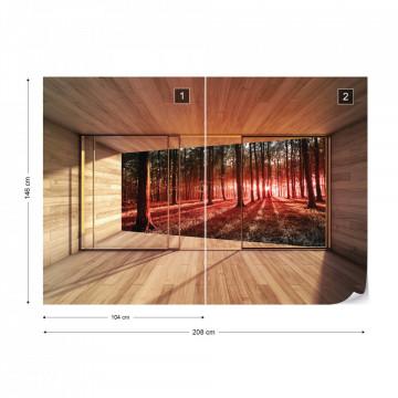 Forest 3D Modern Window View Photo Wallpaper Wall Mural