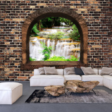 Fototapet autoadeziv - Stony Window: Waterfalls