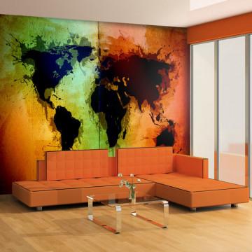 Fototapet - Black continents, colorful oceans...